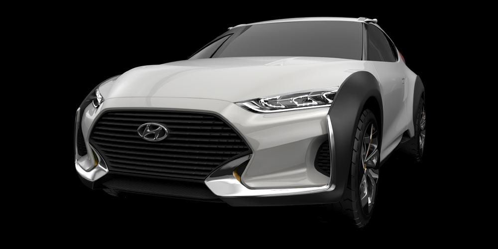 Die studie Hyundai Enduro CUV Concept das Design eines typischen SUVs mit dem eines Rallye-Motorrades.